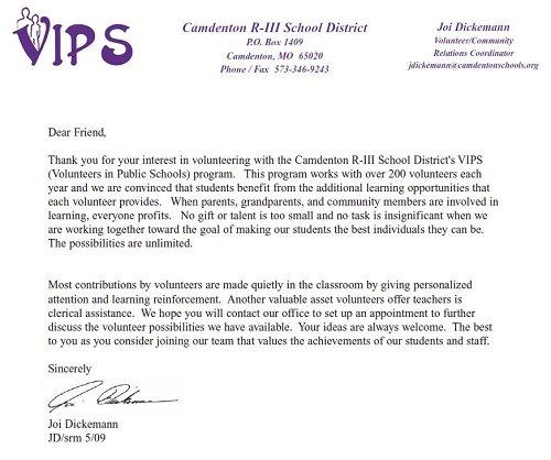 School Volunteer Program Volunteer Letter
